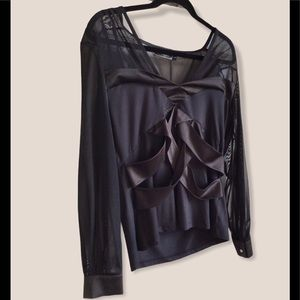 Minkas Black Top - Mesh Sleeves, Satin